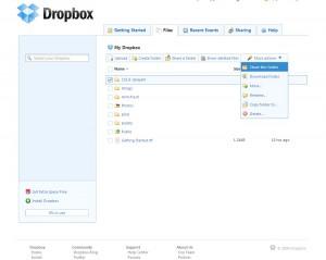 File-ok a Dropbox weboldalán