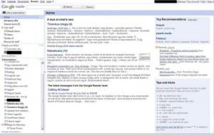 a Google Reader felülete