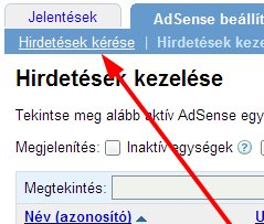AdSenseben a Hirdetések kezelése menüpont helye