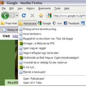 a Firefox RSS olvasója